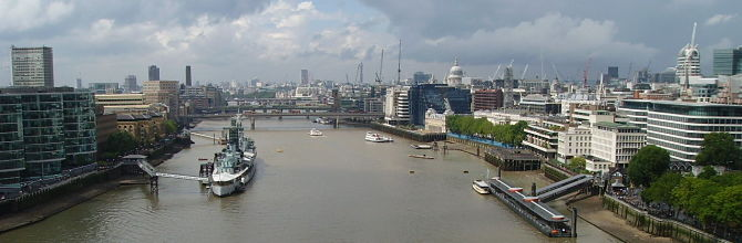The Thames from Tower Bridge HMS Belfast