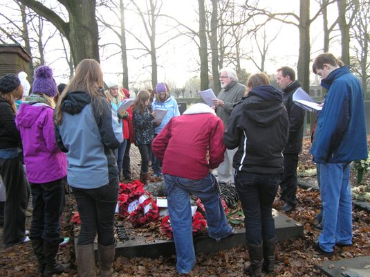 students visiting langemark german cemetery